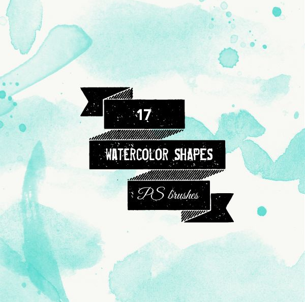 Free Watercolor Shapes and Splatters Brushes - (17 Brushes)