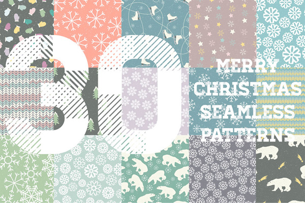 Collection of 30 seamless patterns