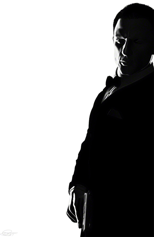 007 Black and White Illustration by Daniel Murray