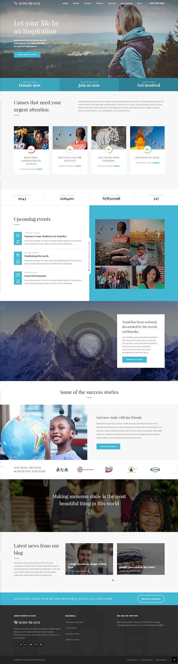 Born To Give - Charity Crowdfunding Responsive HTML5 Template