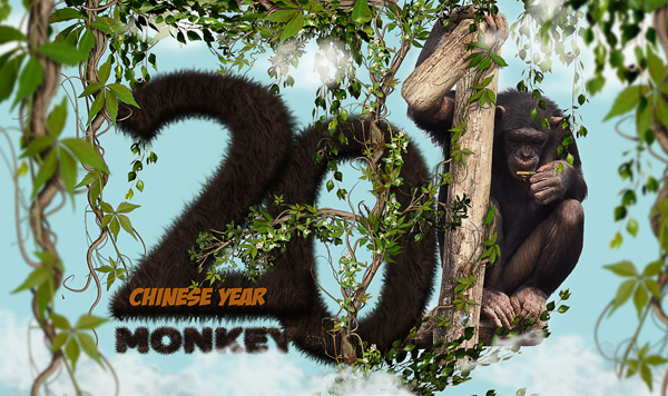Chinese Monkey Year Text Effect In Photoshop
