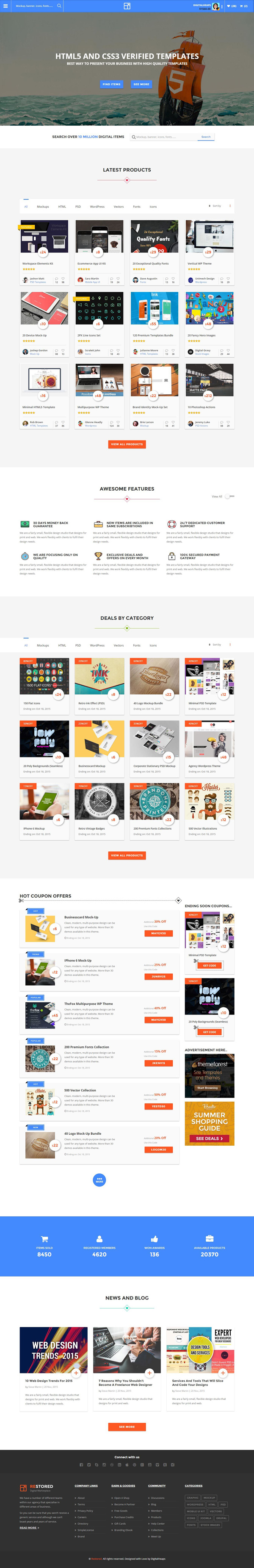 Restored - Market Place,Coupons and Deals HTML Template