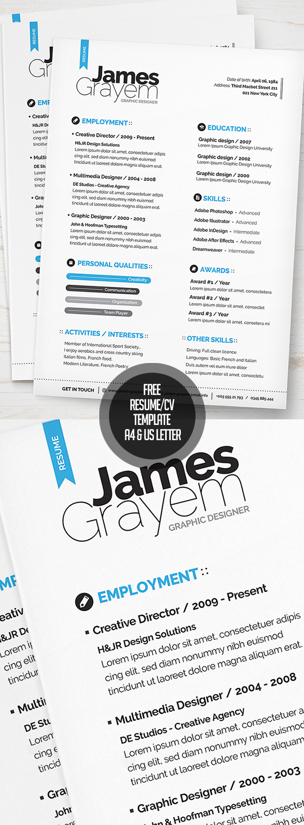 Free Resume / CV Template (A4 & US letter) PSD