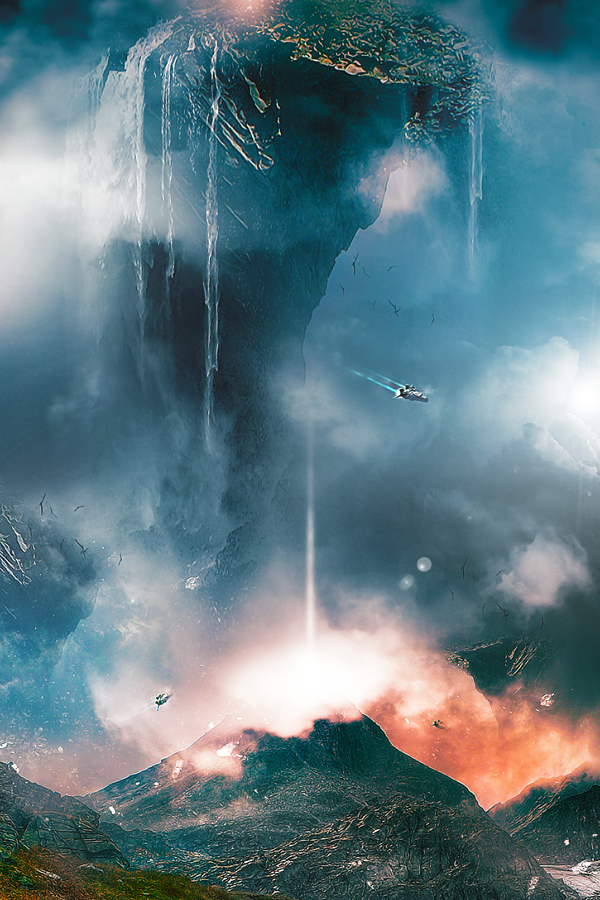 Create Surreal Landscape With Mountain And Waterfalls In Photoshop