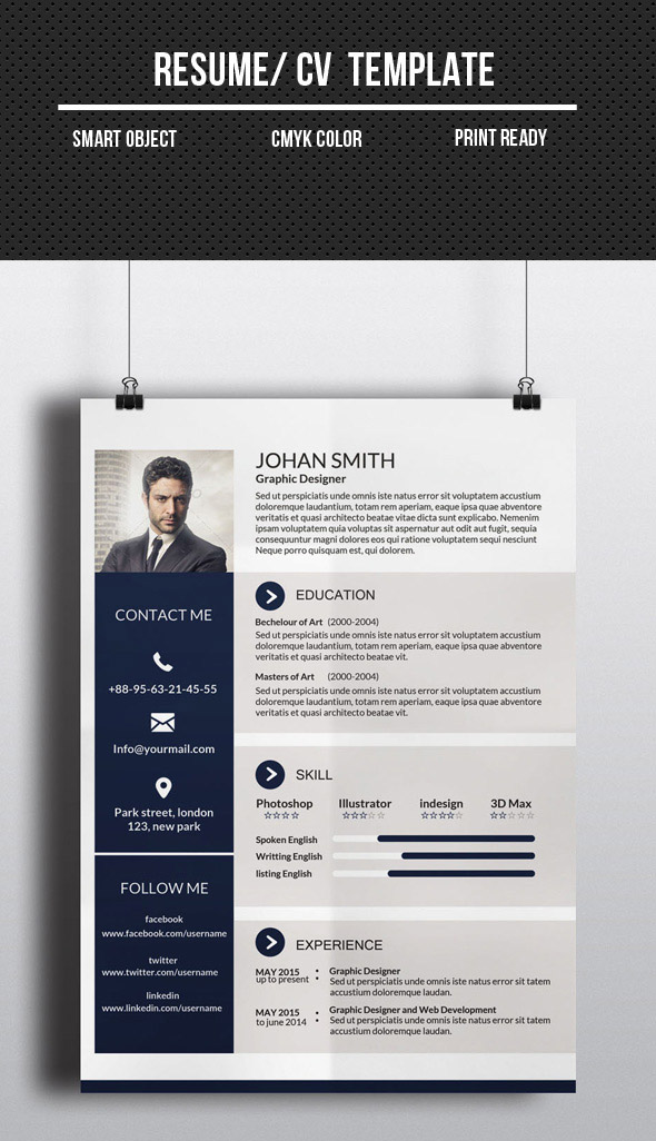 Corporate One Page CV/Resume Template