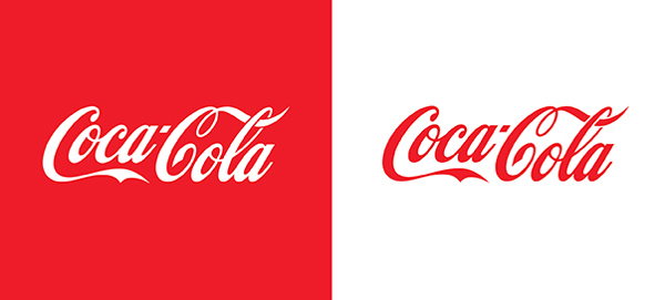 This is best exhibited by Coca-Cola logo, in color red