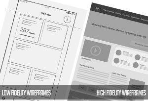 Low Fidelity and High Fidelity Wireframes