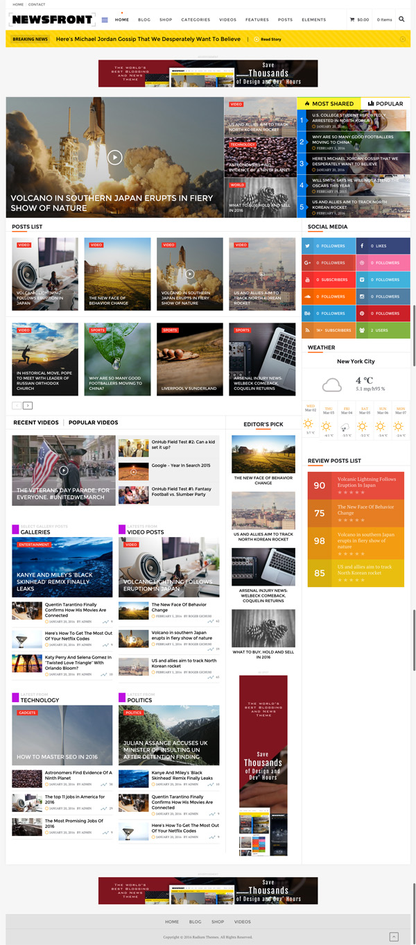 NewsFront - WordPress Blogging, News and Editorial Theme with E-commerce