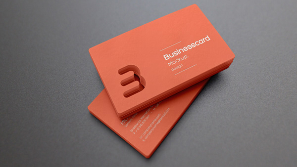 Free Die Cut Business Card Mockup
