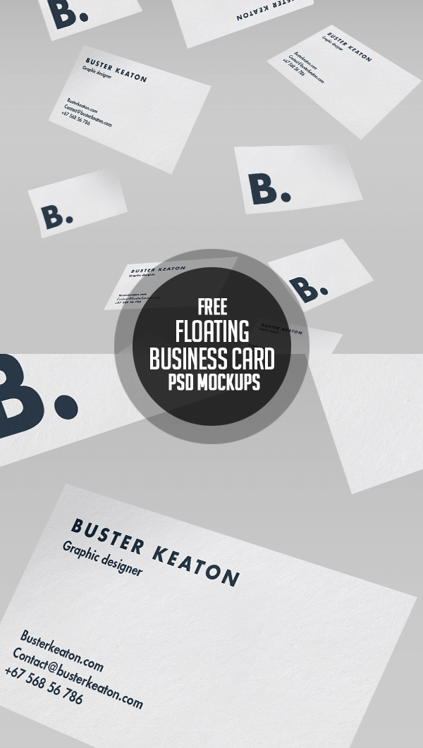 Free Floating Business Card Mockup PSD