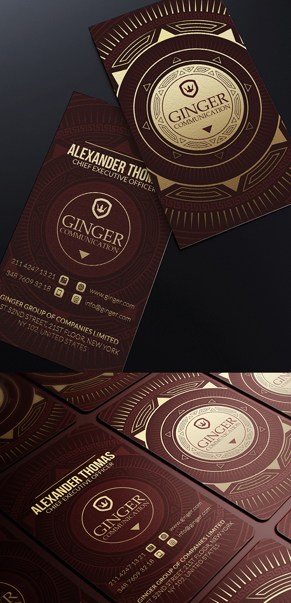 Gold And Red Business Card