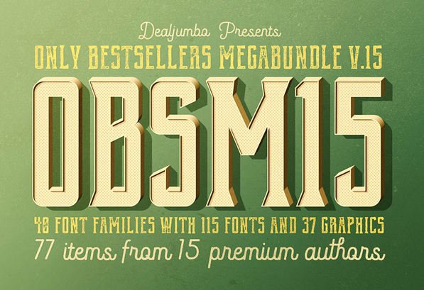 40 Font Families with 115 Fonts and 37 Graphic
