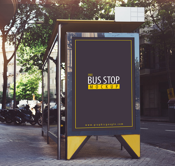 Free Realistic Bus Stop Mockup