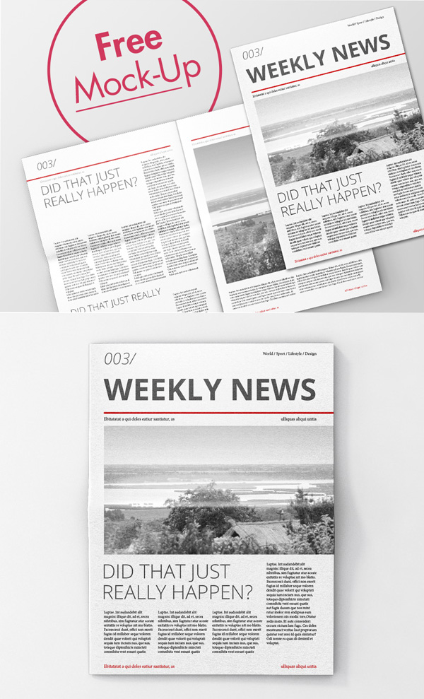 Free High Quality Newspaper PSD Mockups
