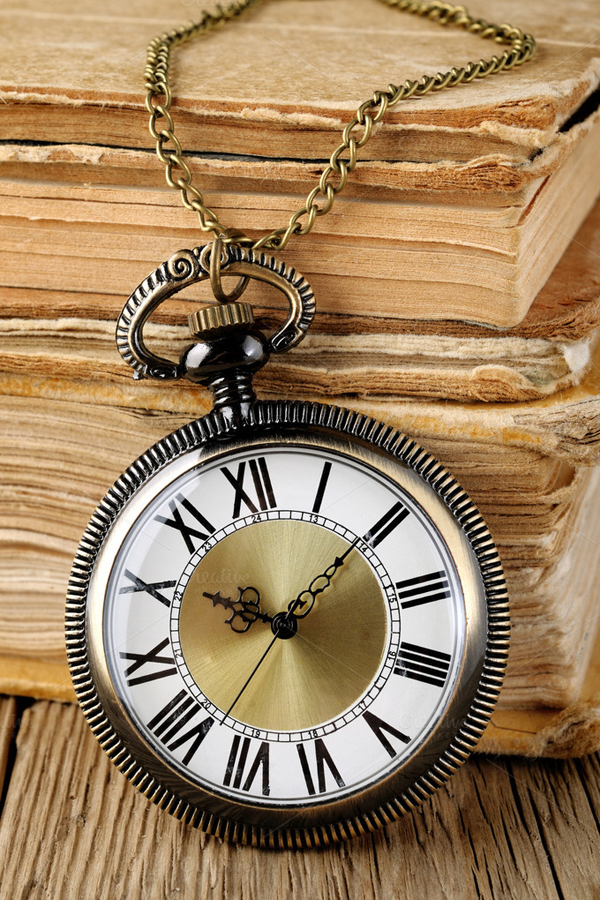 Antique Watch and Books Abstract Photo