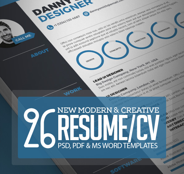 26 Creative CV / Resume Templates with Cover Letter & Portfolio Page