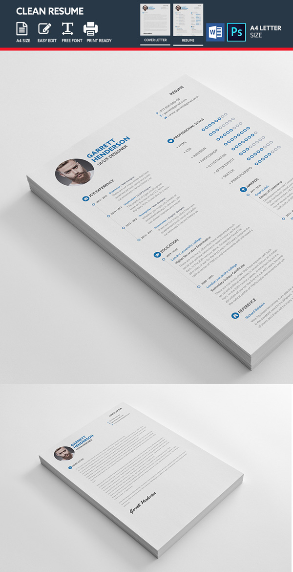 26 Creative Cv Resume Templates With Cover Letter Portfolio Page Design Graphic Design Junction