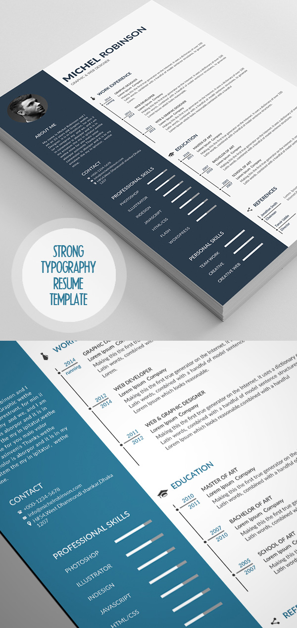 Strong Typography Resume Template
