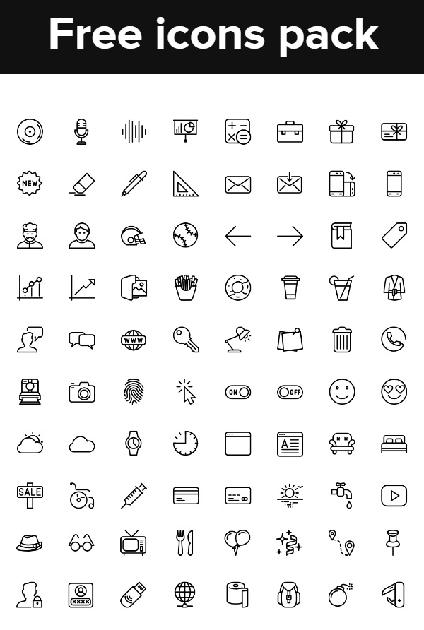 Free Icons Pack (100 Icons)