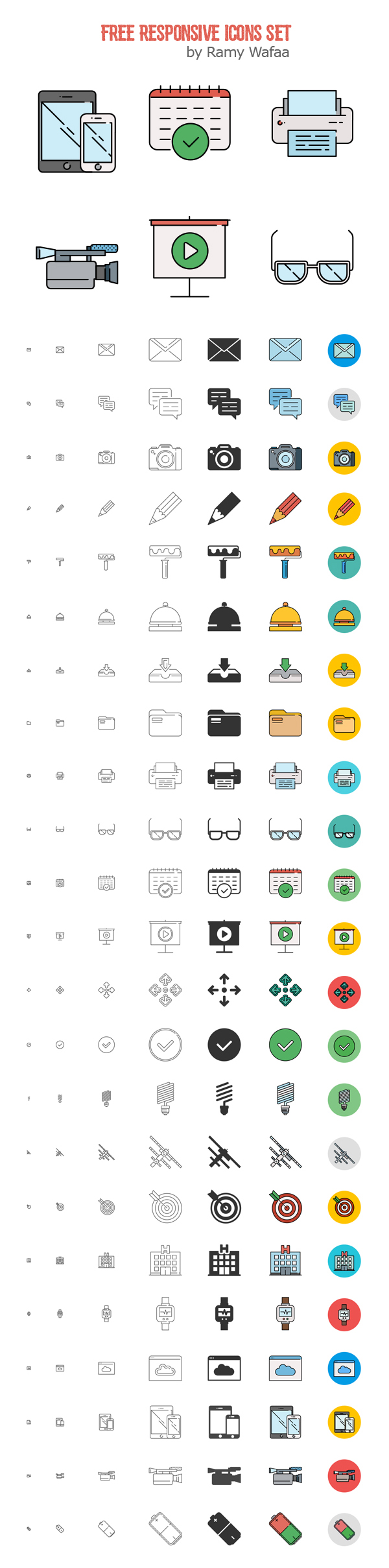 Free Responsive Material Icons Set  (192 Icons)