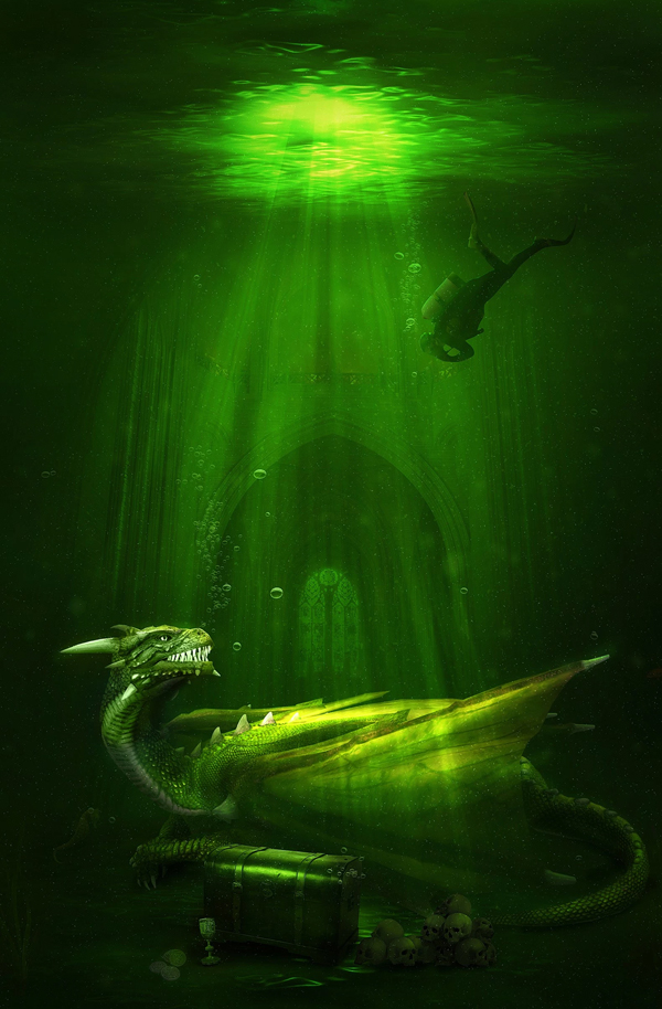 Create an Awesome Underwater Scene Depicting a Dragon and a Treasure Hunter