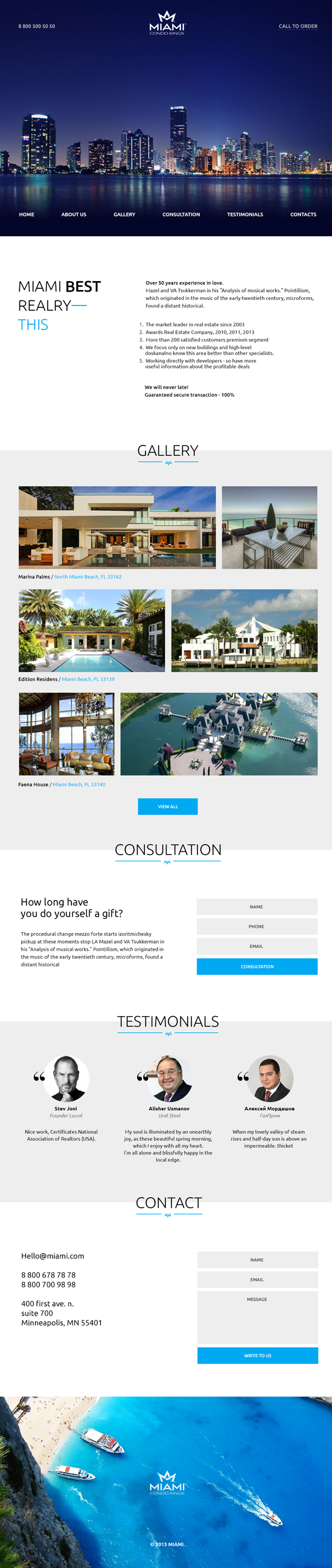 Miami Free Landing Page PSD Website Template