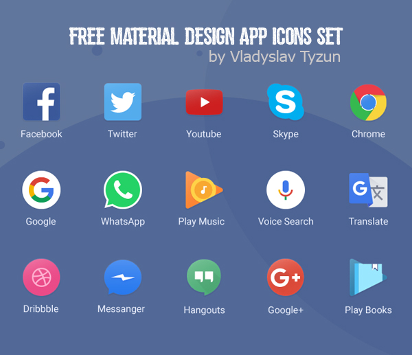 Free Material Design App Icons Set (15 Icons)