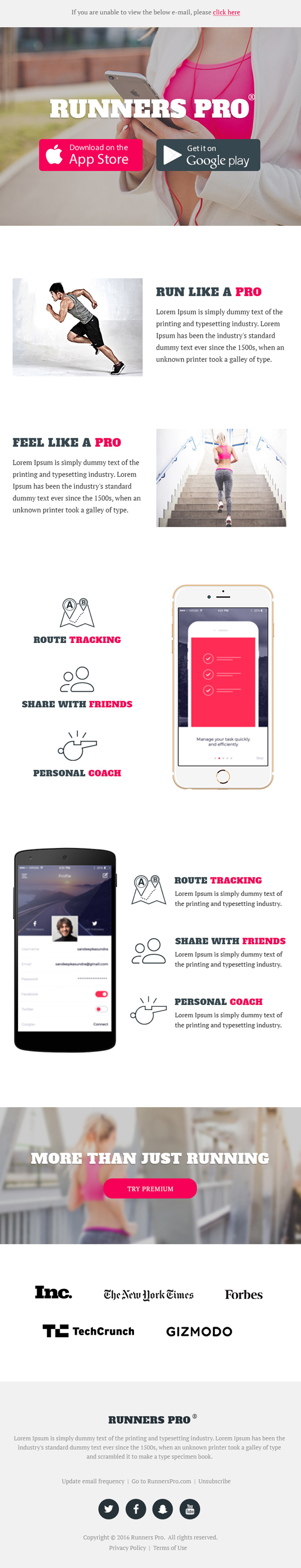Runners Pro – Free App Download Email Template PSD