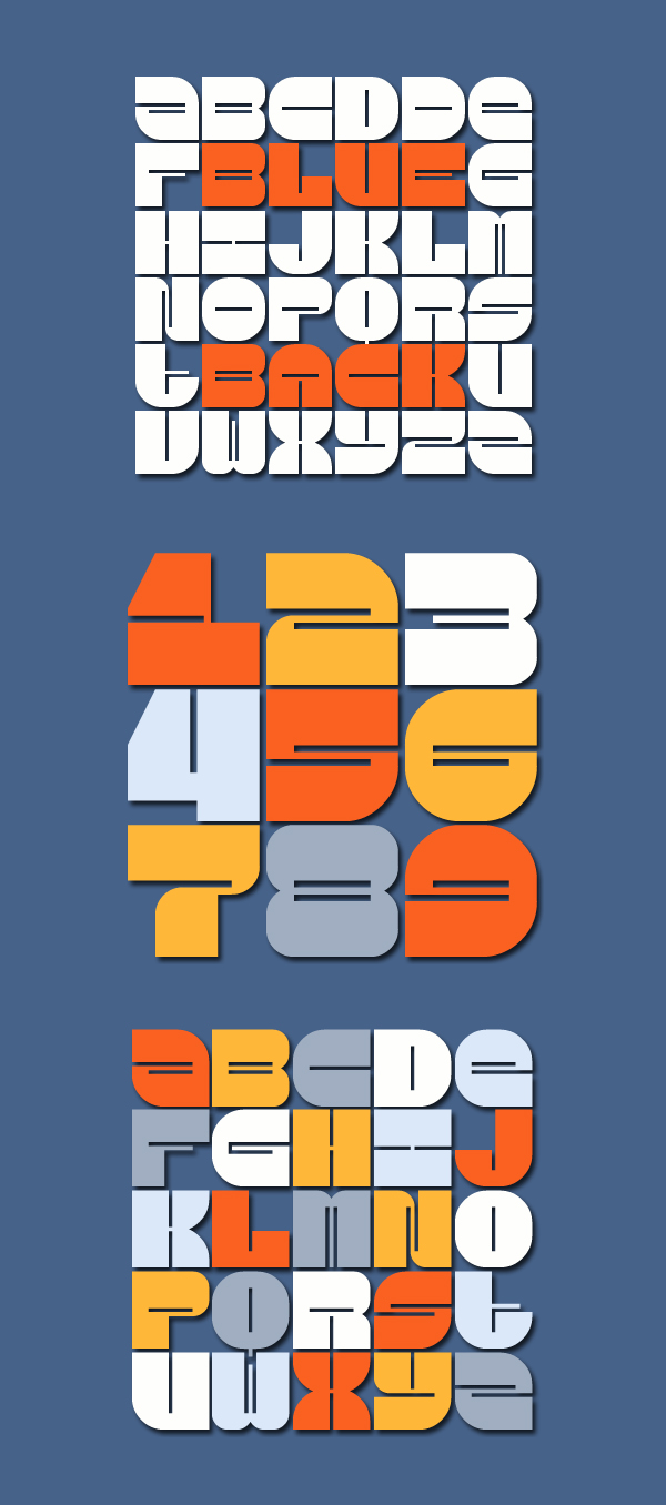 Blueback fonts and letters