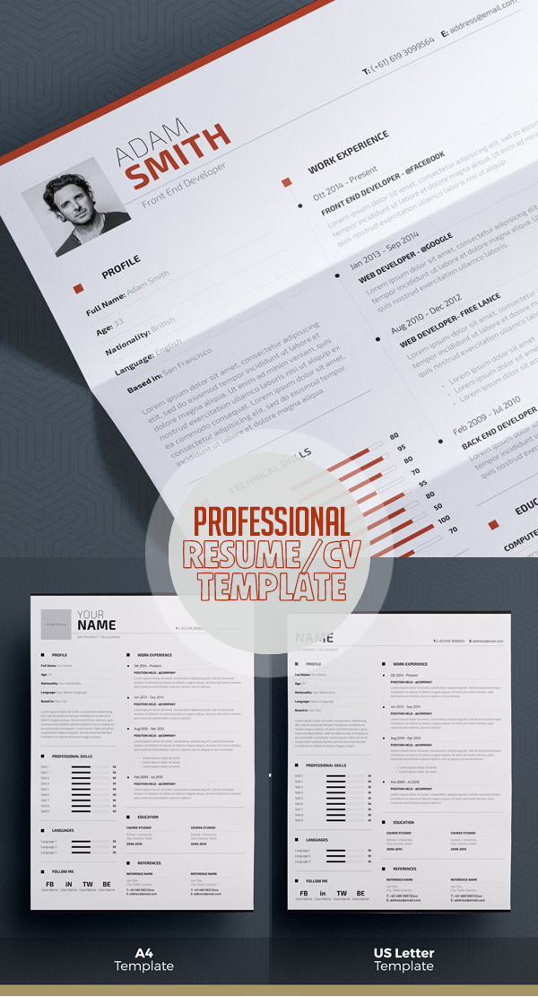 Professional Resume Template – Word + Indesign