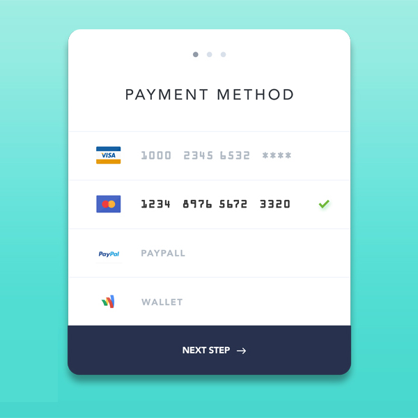Free Payment Method PSD Template