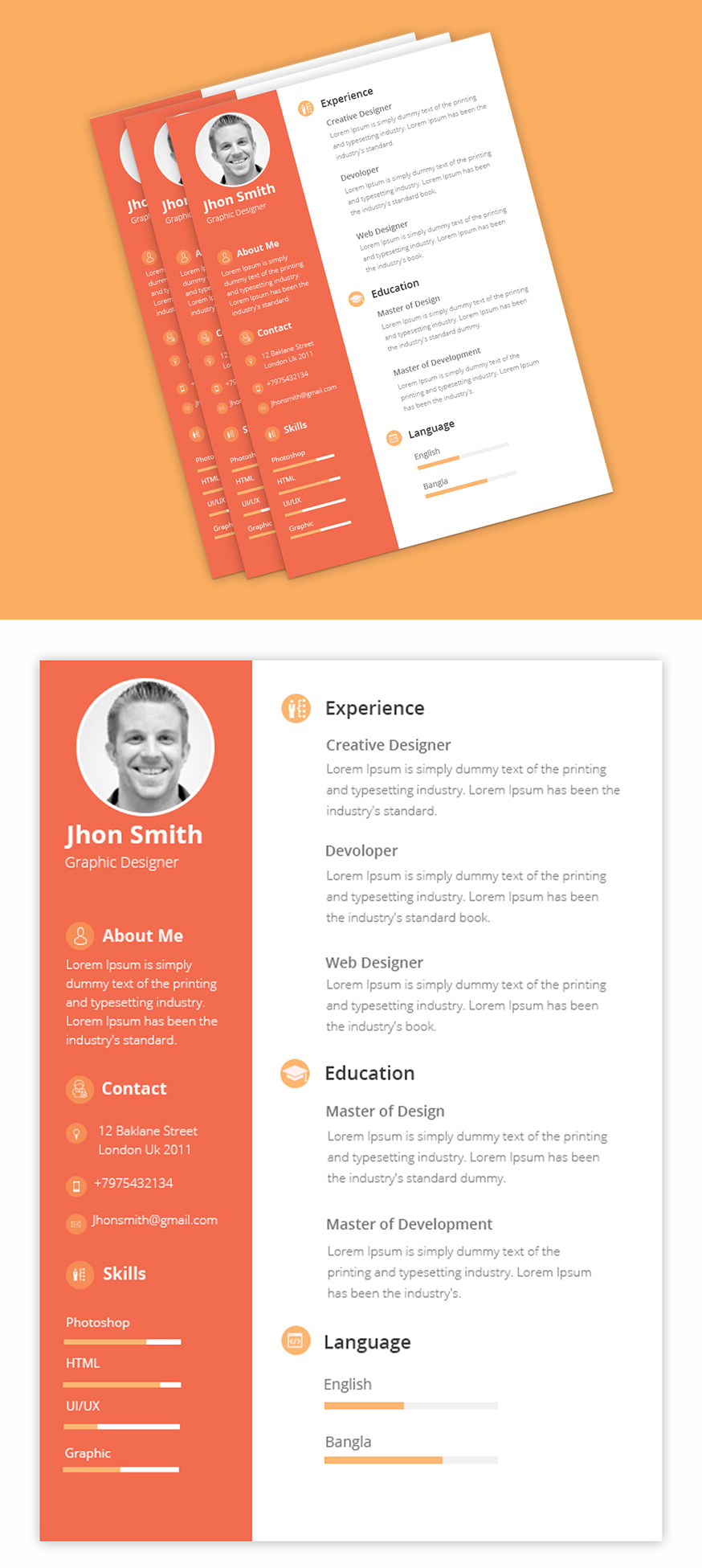 Free PSD for Clean CV/Resume Template