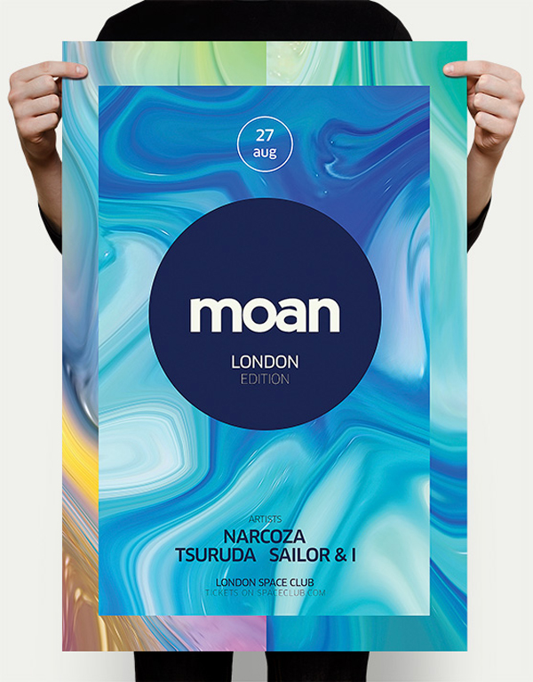 Free Liquid Club Poster PSD