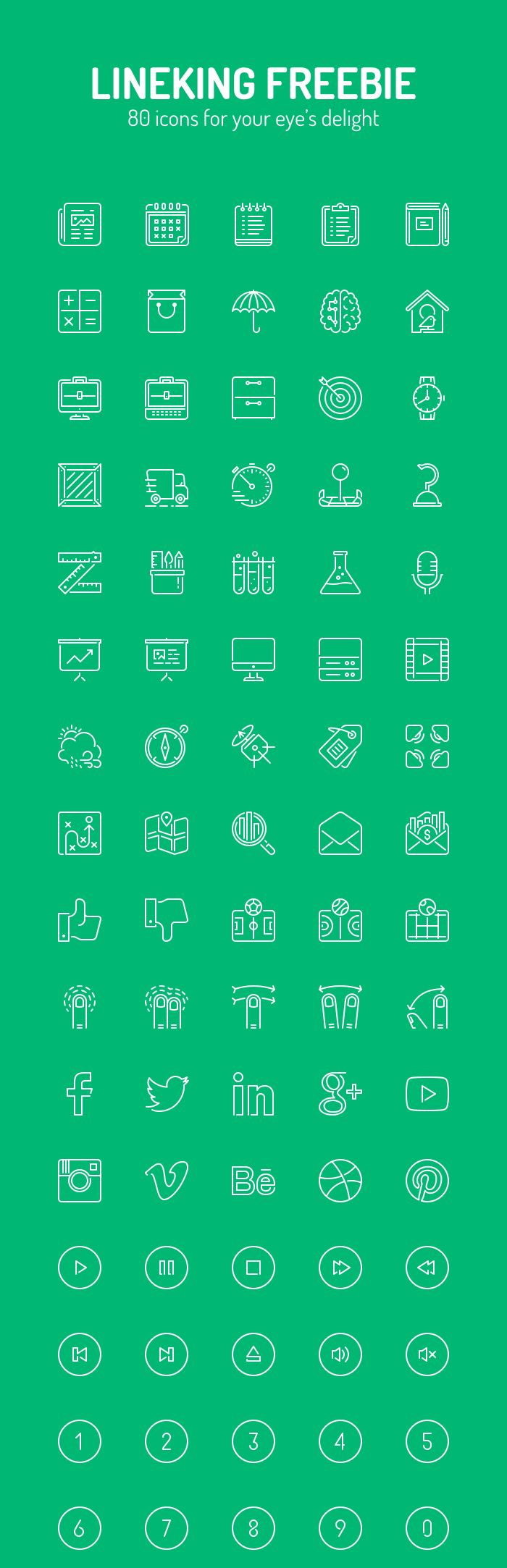 Free Sketch Vector Line Icons (80 Icons)