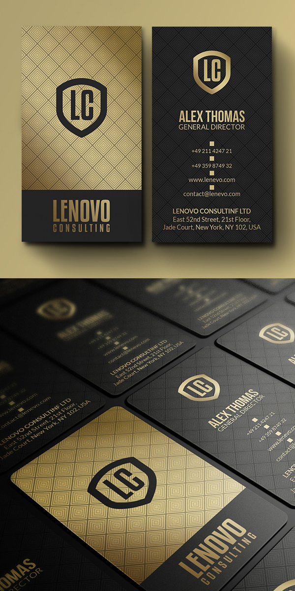 Premium Gold And Black Business Card