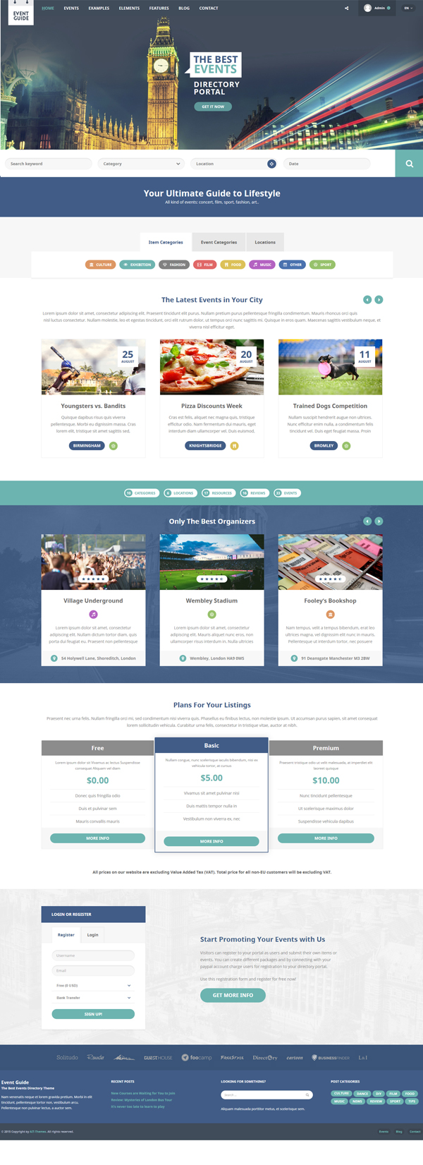Event Guide - Ultimate Directory Listing Theme for Events, Concerts, Gigs, Museums or Galleries