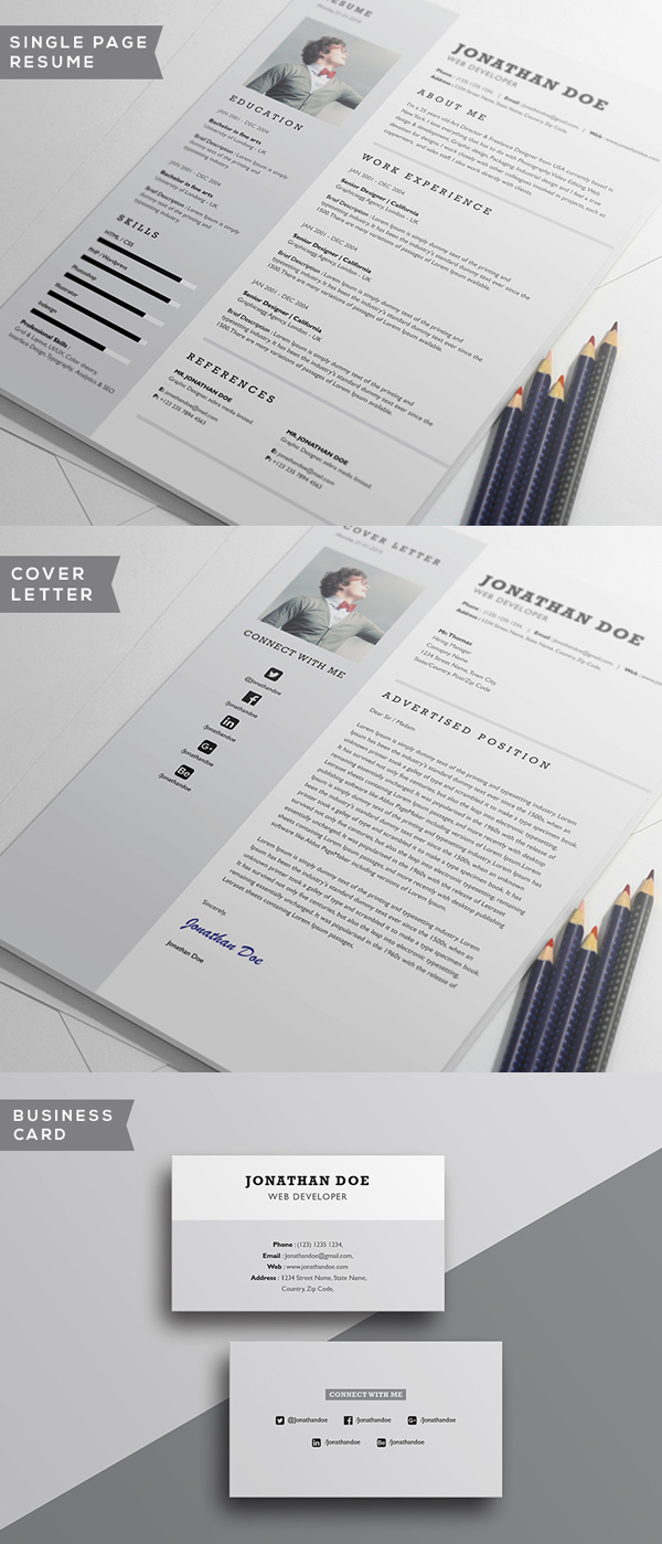 Free Minimalistic CV/Resume Templates with Cover Letter Template - 11
