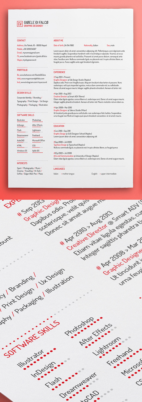 Free Minimalistic CV/Resume Templates with Cover Letter Template - 12
