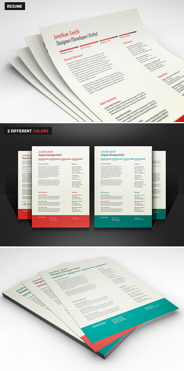 Free Minimalistic CV/Resume Templates with Cover Letter Template - 14