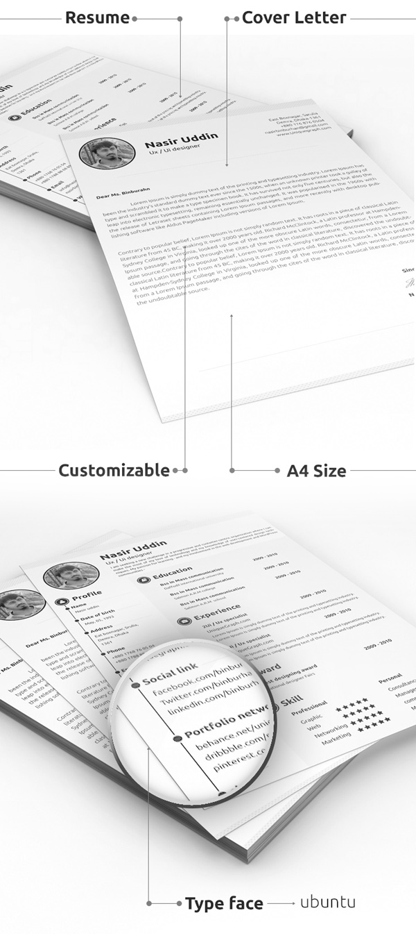 Free Minimalistic CV/Resume Templates with Cover Letter Template - 16