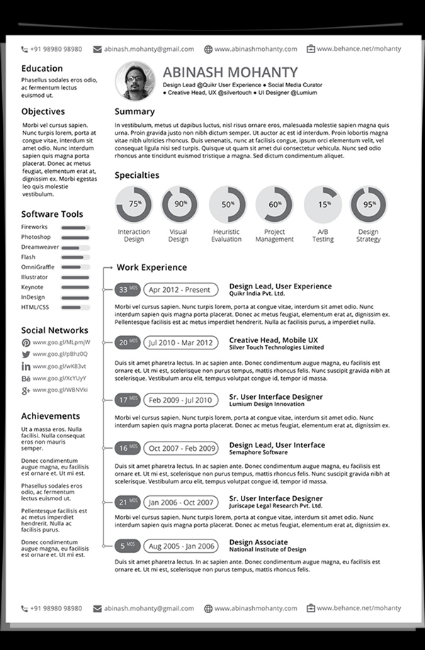 Free Minimalistic CV/Resume Templates with Cover Letter Template - 17