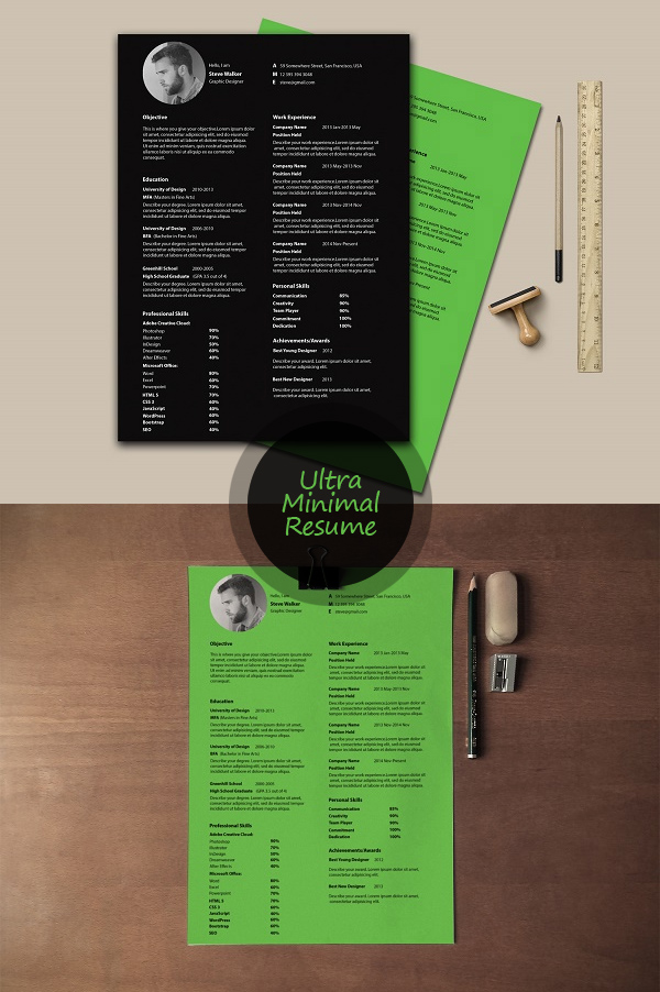 Free Minimalistic CV/Resume Templates with Cover Letter Template - 18