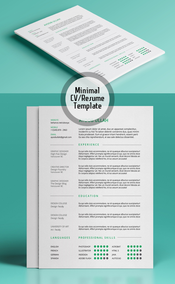 Free Minimalistic CV/Resume Templates with Cover Letter Template - 19