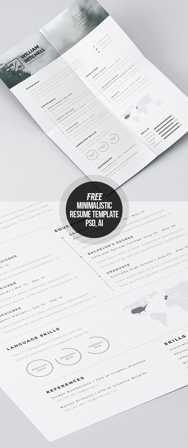 Free Minimalistic CV/Resume Templates with Cover Letter Template - 20