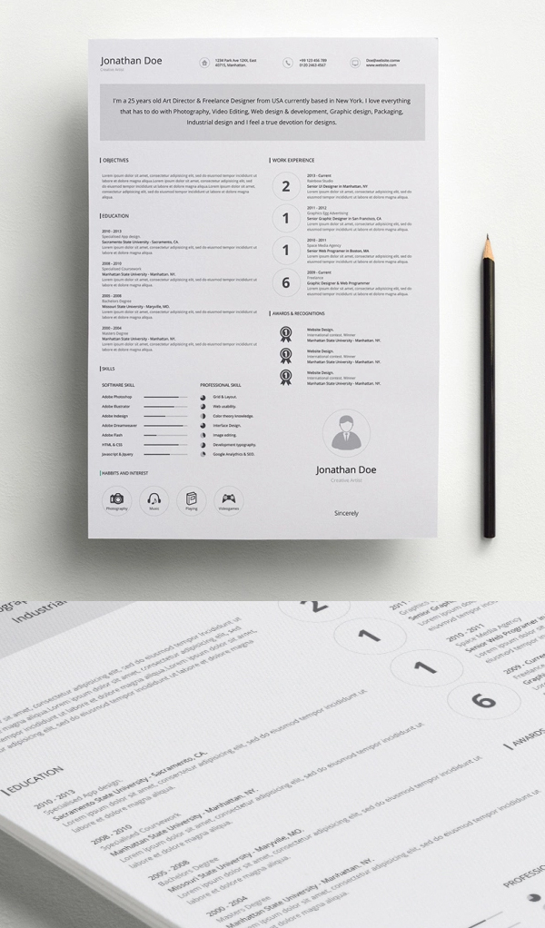 Free Minimalistic CV/Resume Templates with Cover Letter Template - 4