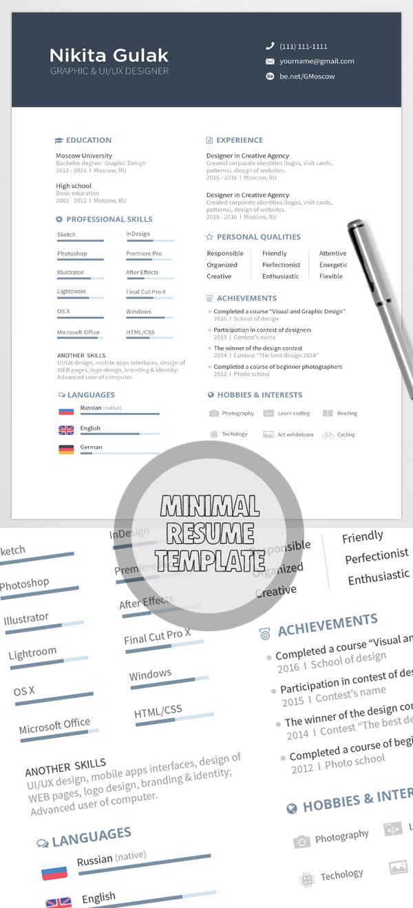 Free Minimalistic CV/Resume Templates with Cover Letter Template - 8