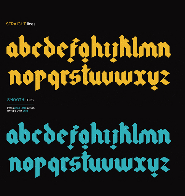 Gothic fonts and letters