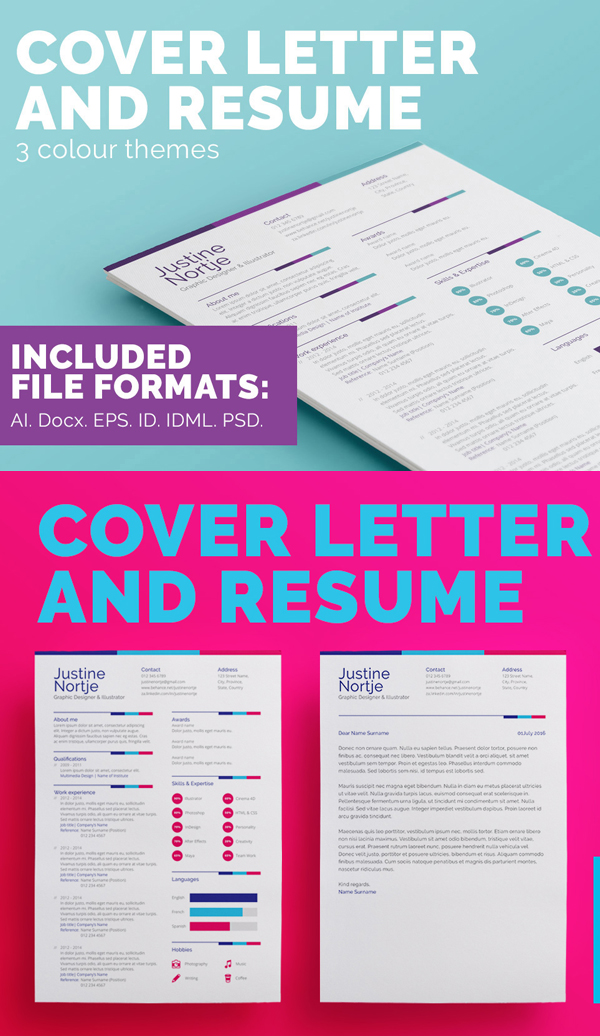 Resume & Cover Letter Template (3 Three Color)