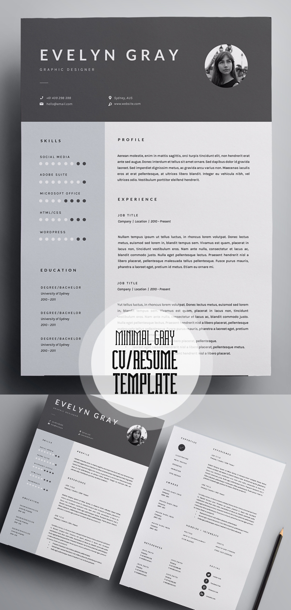 Minimal Gray 3 Page Resume Template