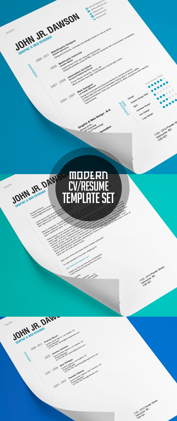 Modern Resume Template Set